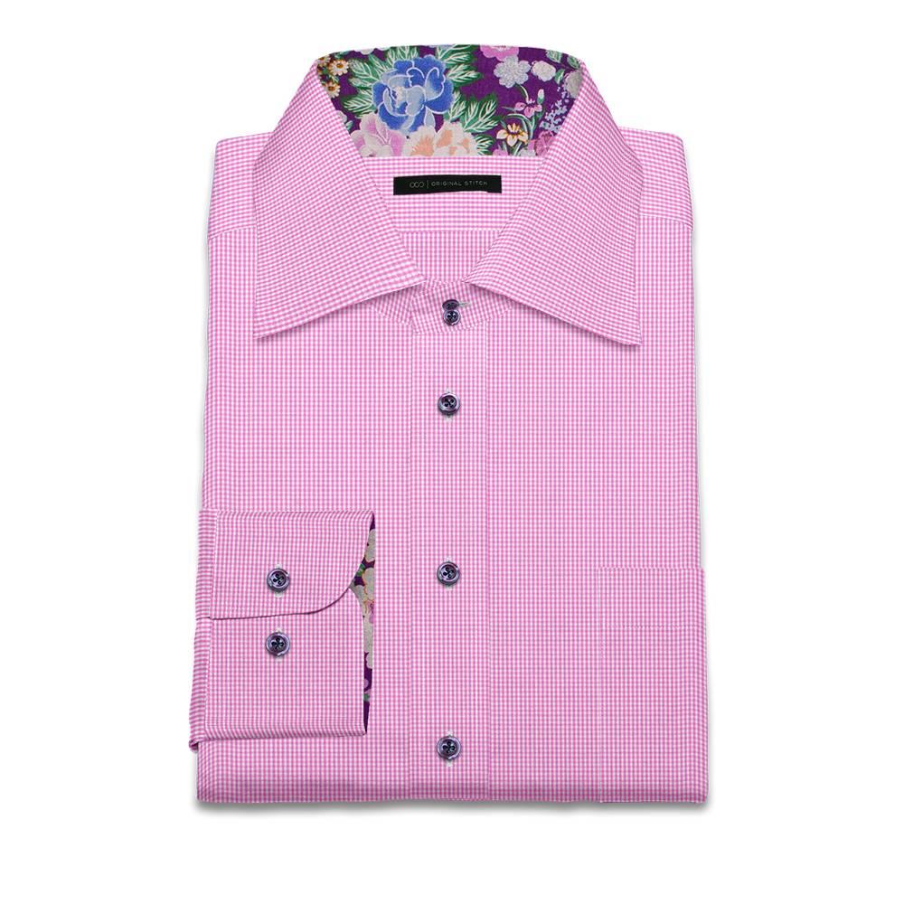 Original stitch pink checkered shirt dress shirt for Pink checkered dress shirt
